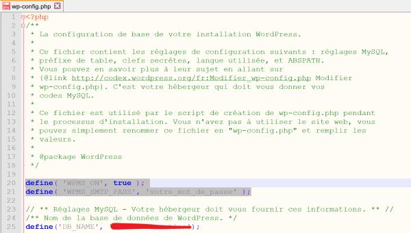 Comment ajouter un code dans le fichier wp-config