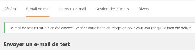 Confirmation de l'envoi de l'email de test avec WP Mail SMTP