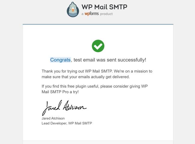Contenu de l'email de test