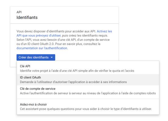 Créer ID Client OAuth