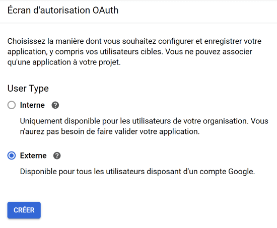 Ecran d'autorisation OAuth