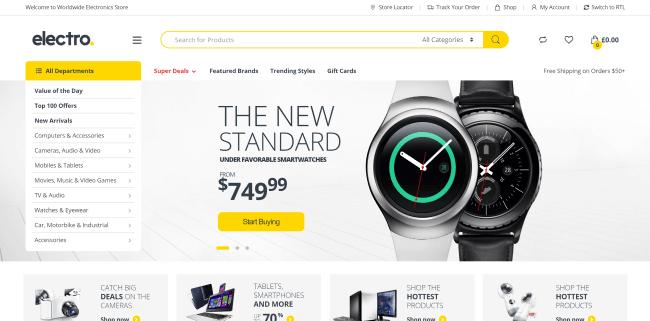 Electro : Meilleur Theme WordPress eCommerce pour boutique de vente d'électronique en ligne
