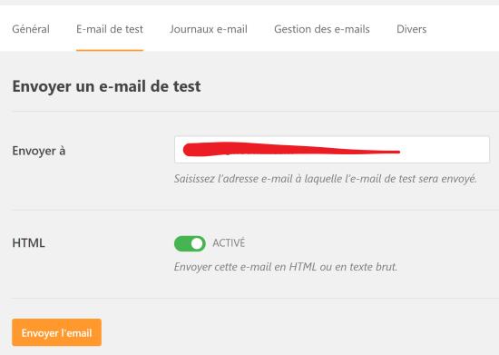 Envoi d'un email de test avec WP Mail SMTP