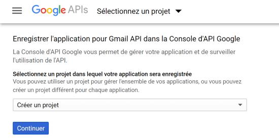 Gmail API : Créer nouveau projet