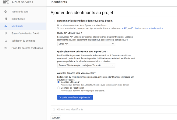 Page identifiants Gmail API