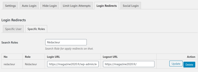 Login Redirects : rediriger selon le rôle.
