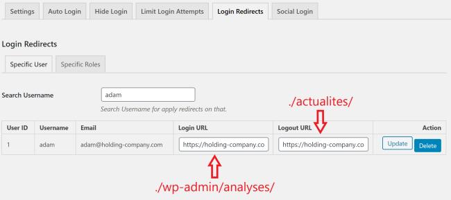 Login Redirects : redirige lors de la connexion selon un utilisateur spécifique