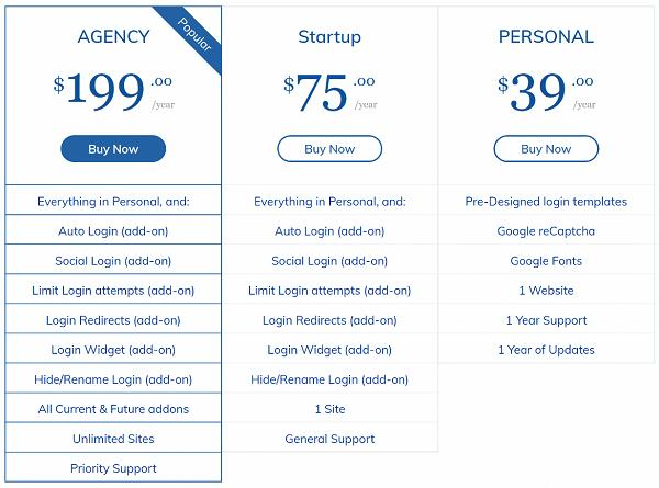 LoginPress : table des prix