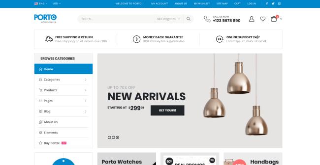Porto : Theme WordPress eCommerce pour créer sa boutique en ligne.