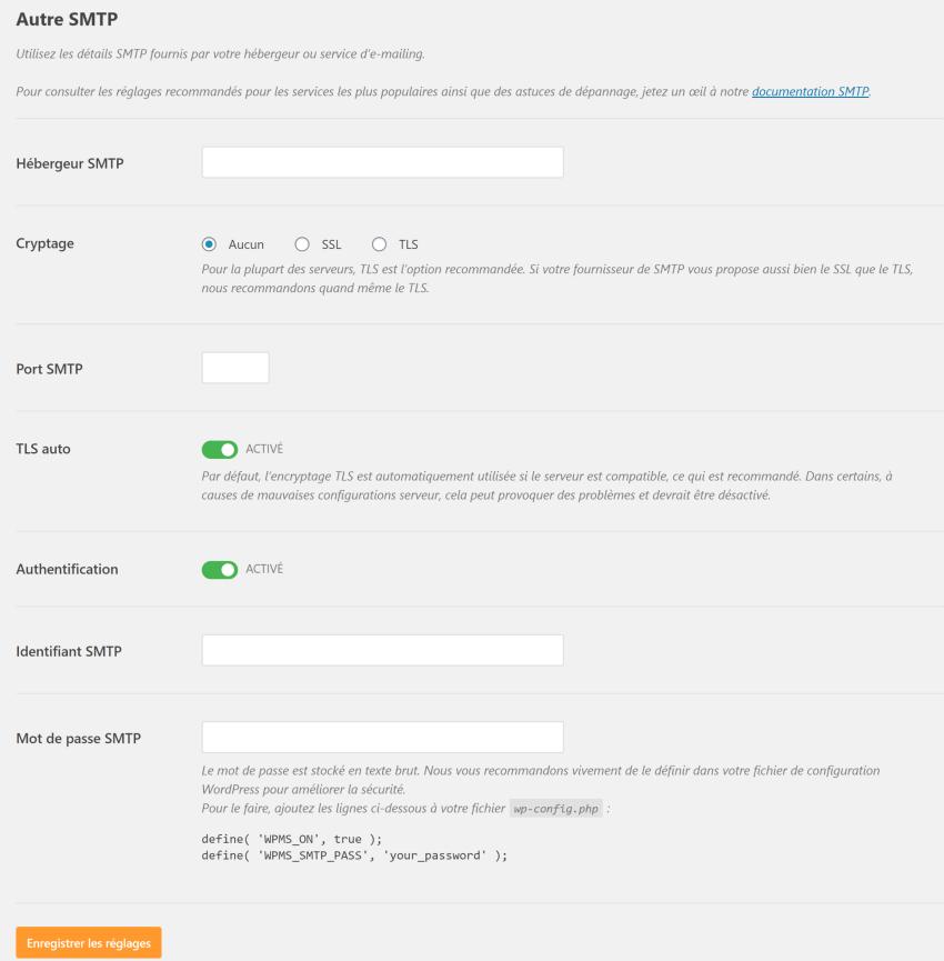 Configuration SMTP via hébergeur