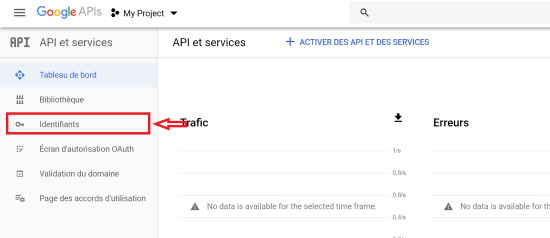 Tableau de bord de Google API