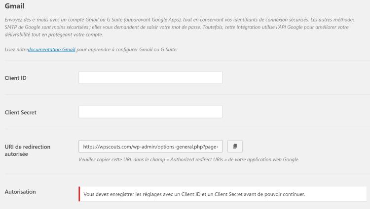 Les réglages Client ID et Secret de Gmail sur WP Mail SMTP